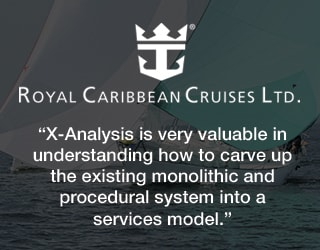 Royal Caribbean - X-Analysis is very valuable in understanding how to carve up the existing monolithic and procedural system into a services model