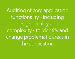 Auditing of core application functionality - including design, quality and complexity - to identify and change problematic areas in the application.