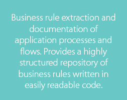 Business rule extraction and documentation of application processes and flows. Provides a highly structured repository of business rules written in easily readable code.