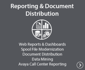 Reporting & Document Distribution - Web Reports & Dashbaoards, Spool File Modernization, Document Distribution, Data Mining, Avaya Call Center Reporting