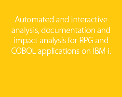 Automated and interactive analysis, documentation and impact analysis for RPG and COBOL applications on IBM i.