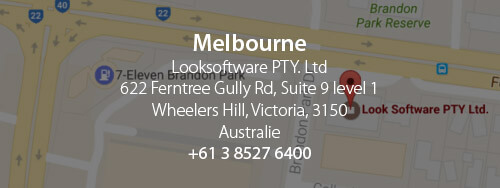 Melbourne - Looksoftware PTY. LTD. 622 Ferntree Gully Rd. Suite 9 level 1. Wheelers Hill, Victoria, 3150 Australie. +61 3 8527 6400