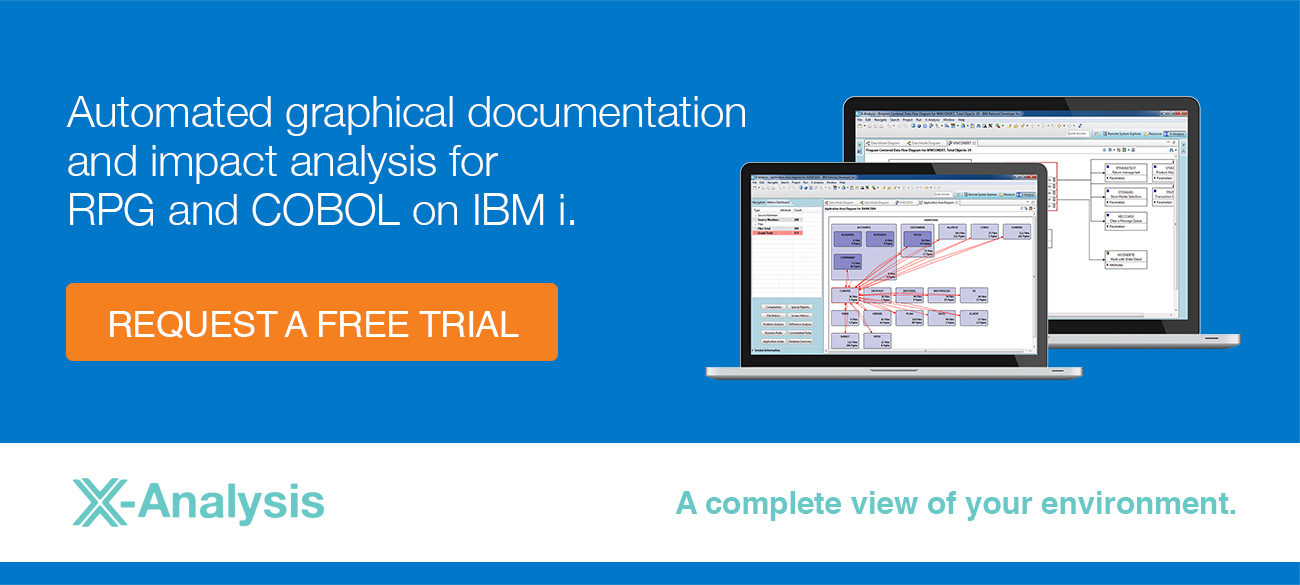 Automated graphical documentation and impact analysis for RPG and COBOL on IBM i. Request a free trial