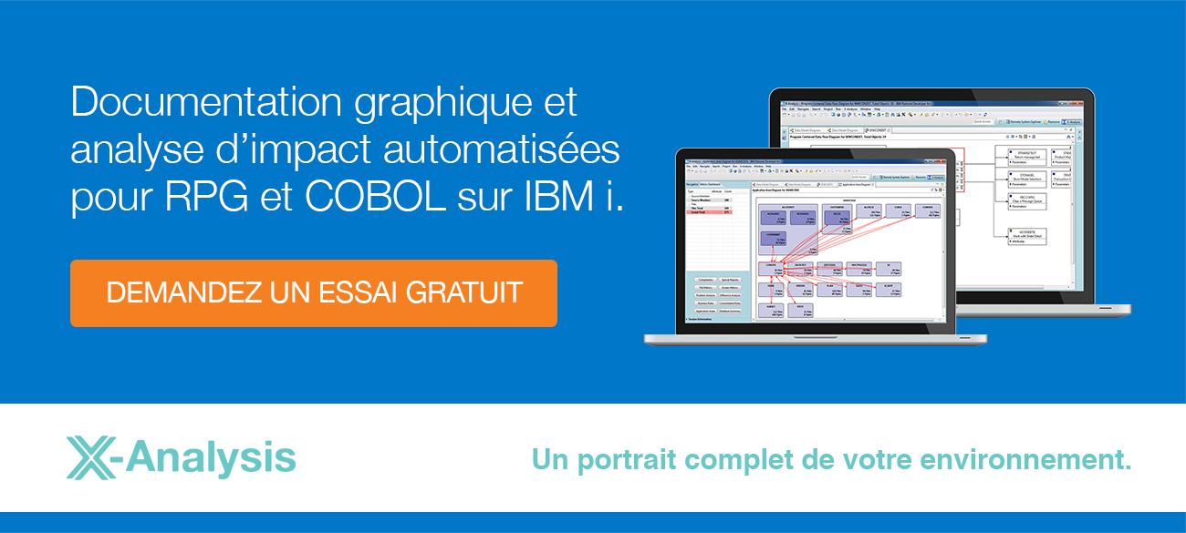 Documentation graphique et analyse d'impact automatisees pour RPG et COBOL sur IBM i. Demandez un essai gratuit